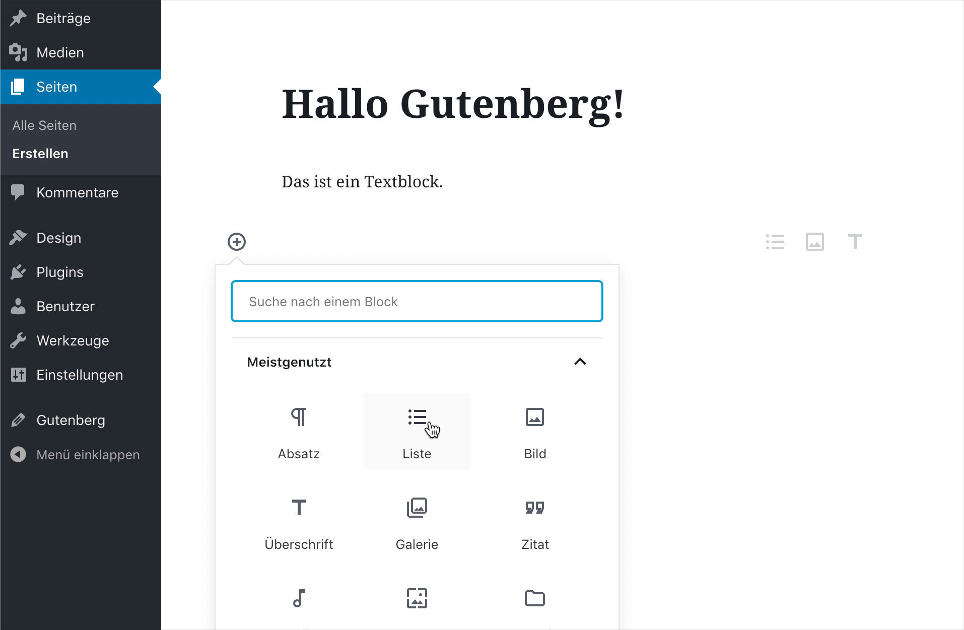 Screenshot WordPress Gutenberg Editor