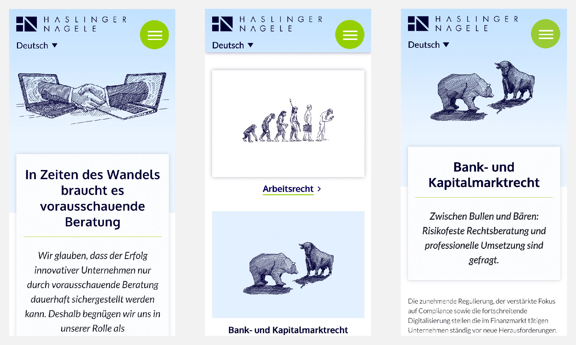 Screenshot Website Haslinger / Nagele. Konzept, Design, Programmierung: DREIVIERTELNEUN Digital Design Studio. Illustration: Karlheinz Wasserbacher