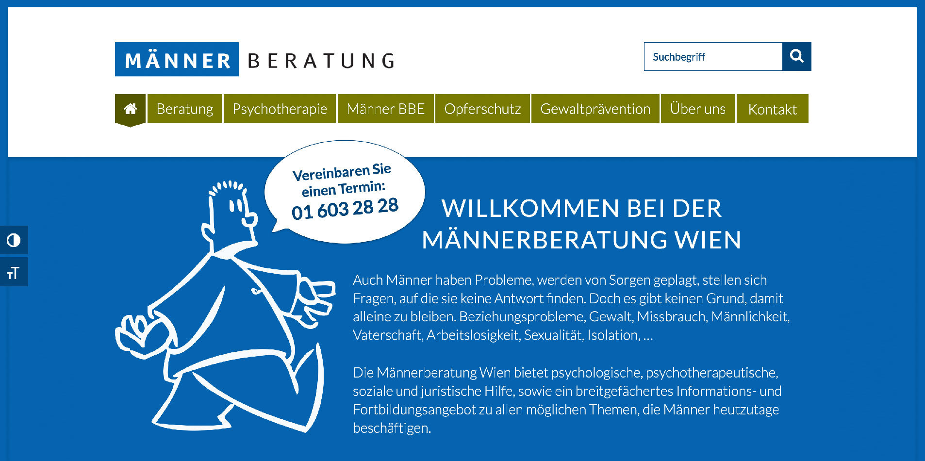 Screenshot Website Männerberatung. Konzept, Design, Programmierung: DREIVIERTELNEUN Digital Design Studio