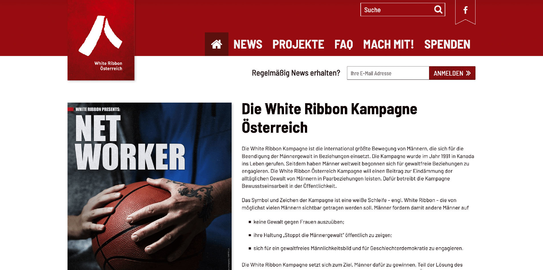 Screenshot Website White Ribbon. Konzept, Design, Programmierung: DREIVIERTELNEUN Digital Design Studio